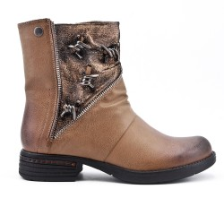 Khaki ankle boot in faux leather zipped decor
