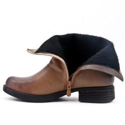 Bottine kaki en simili cuir à zippé en déco