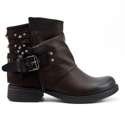 Brown ankle boot in faux leather with a decorative strap