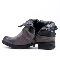 Gray imitation leather ankle boot with decorative strap