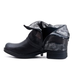 Black imitation leather ankle boot with decorative strap