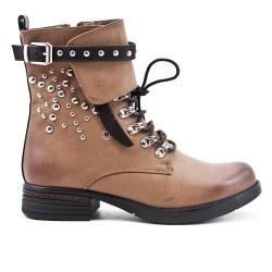 Khaki imitation leather ankle boot with decorative lace