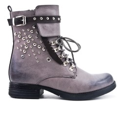 Gray imitation leather ankle boot with decorative lace
