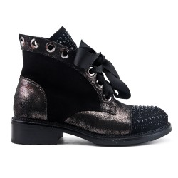 Black ankle boot with rhinestones and ribbon lace