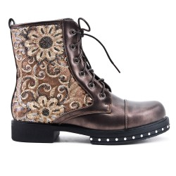 Gray imitation leather ankle boot with flower embroidery