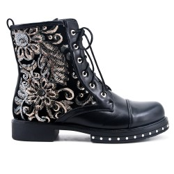 Black imitation leather ankle boot with flower embroidery