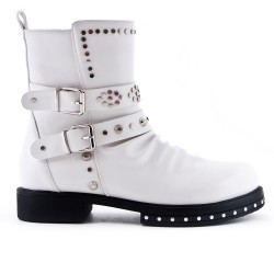 White imitation leather ankle boot with studded strap