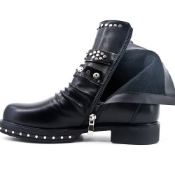 Black imitation leather ankle boot with studded strap