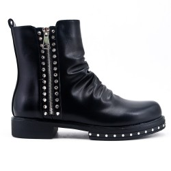 Black imitation leather ankle boot with decorative zipper