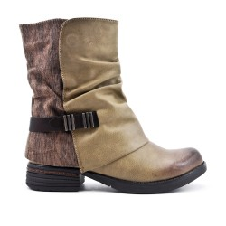 Khaki leather-look boot
