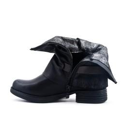 Botte noire en simili cuir