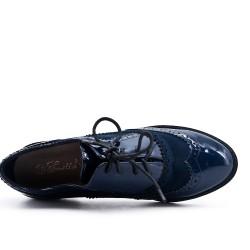 Richelieu bleu marine bi-matière à lacet