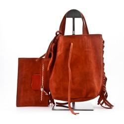 Leather handbag with bangs