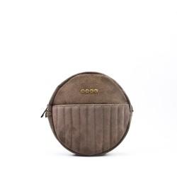 Round leather shoulder bag