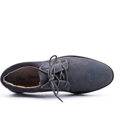 Gray Derby Perforated Leather Lace-Up