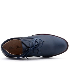 Blue derby faux leather lace