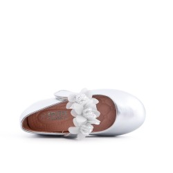 Ballerine fille argent à bride avec fleur