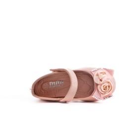 Ballerine fille rose en vernis à fleur