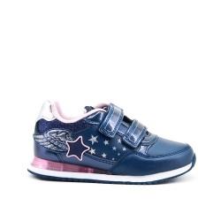 Basket bleu fille à motif étoile