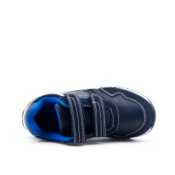 Blue children's sneaker with scratch