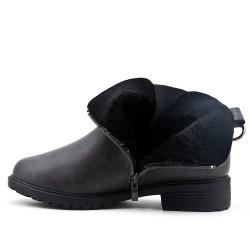 Bottine confort gris en simili cuir