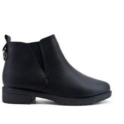 Bottine confort noire en simili cuir
