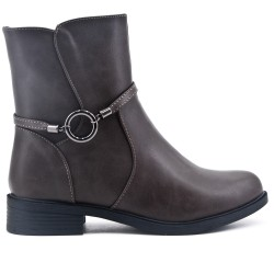 Gray comfort boot with flange with rings