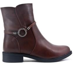 Talla grande - Bota confort marrón con brida con anillas