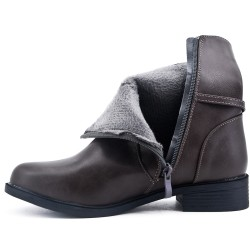 Big size - Gray comfort boot with flange with rings