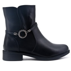 Black comfort flared ankle boot with rings