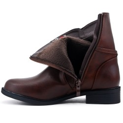 Big size - Brown comfort boot with bridle with rings