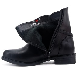 Big size - Black comfort flared ankle boot with rings