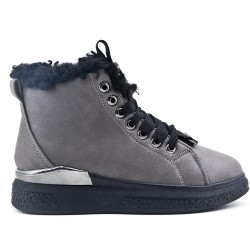 Gray leatherette lace-up ankle boot