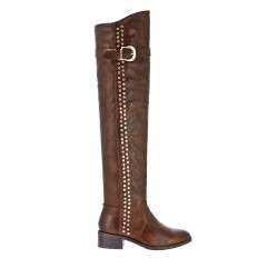 Brown thigh high boot in faux leather