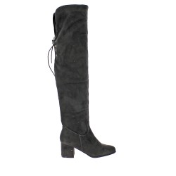 Gray thigh boot with heel