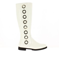 White faux leather boot with rings on the side