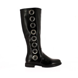 Black imitation leather boot with side rings