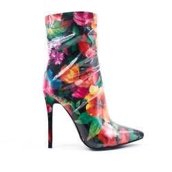Bota de tobillo estampada floral