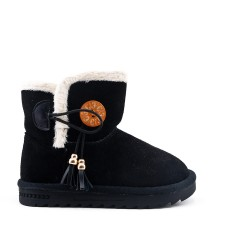 Black girl boot with pompom
