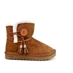 Camel girl boot with pompom