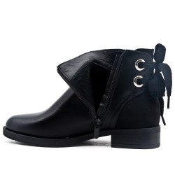 Black imitation leather ankle boot with decorative lace