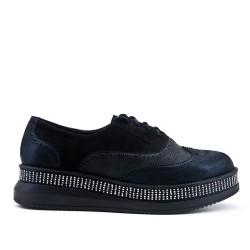 Richelieu black bi-material lace