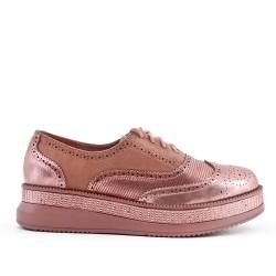 Richelieu pink bi-material lace