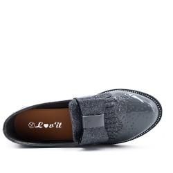 Gray loafer with bow
