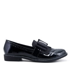Black loafer with bow