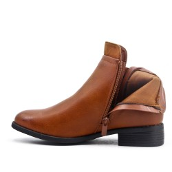 Camel leather ankle boot