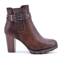 Khaki leather ankle boot with buckled bridle