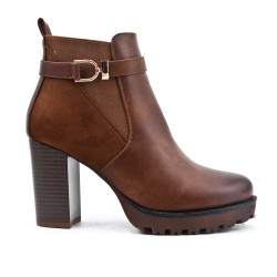 Bi-material khaki boot with heel