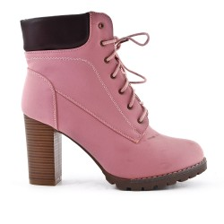 Pink lace ankle boot with heel