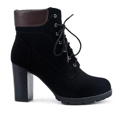 Black lace ankle boot with heel